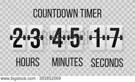 Time Remaining Countdown Flip Board With Scoreboard Of Day, Hour, Minutes And Seconds. Digital Count