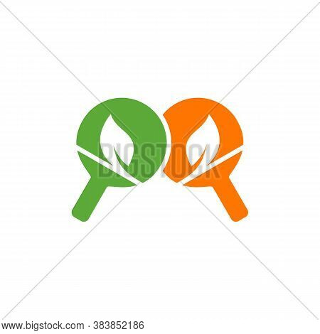 Table Tennis With Leaf Logo Design Concepts. Sport Labels Vector Illustration For Ping Pong Club