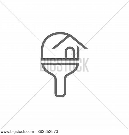 Table Tennis With Home Logo Design Concepts. Sport Labels Vector Illustration For Ping Pong Club