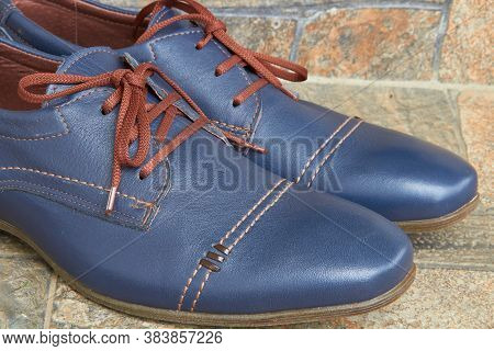 Mens Blue Shoes, Stylish And Fashionable Mens Shoes On The Stone Stairs