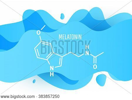 Melatonin Structural Chemical Formula With A Blue Liquid Fluid Gradient Shape With Copy Space On Whi