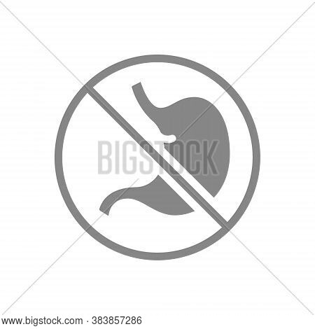 Stomach With Prohibition Sign Grey Icon. Transplant Rejection Symbol