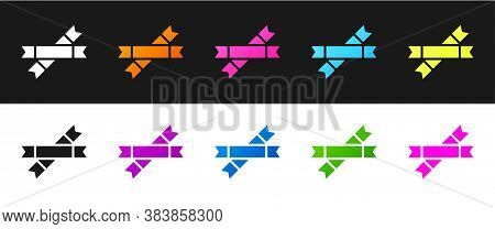 Set Sugar Stick Packets Icon Isolated On Black And White Background. Blank Individual Package For Bu