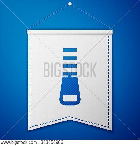 Blue Zipper Icon Isolated On Blue Background. White Pennant Template. Vector Illustration