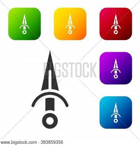 Black Dagger Icon Isolated On White Background. Knife Icon. Sword With Sharp Blade. Set Icons In Col