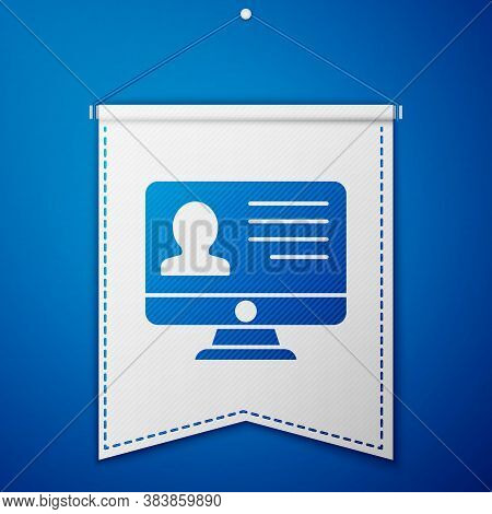 Blue Computer Monitor With Resume Icon Isolated On Blue Background. Cv Application. Searching Profes
