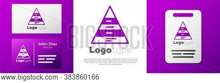Logotype Business Pyramid Chart Infographics Icon Isolated On White Background. Pyramidal Stages Gra