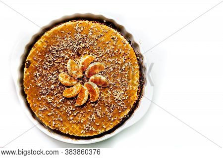 Wafer Cake With Boiled Condensed Milk With Slices Of Mandarin And Coconut Crumbs. Homemade Cakes Hom