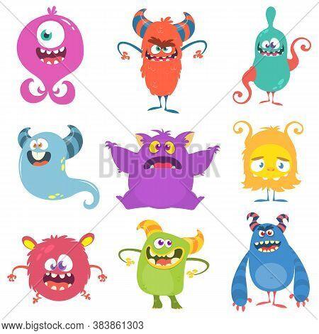 Cute Cartoon Monsters. Set Of Cartoon Monsters: Goblin Or Troll, Cyclops, Ghost,  Monsters And Alien