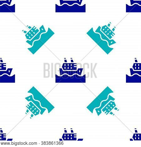 Blue Cruise Ship In Ocean Icon Isolated Seamless Pattern On White Background. Cruising The World. Ve