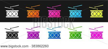 Set Musical Instrument Drum And Drum Sticks Icon Isolated On Black And White Background. Vector
