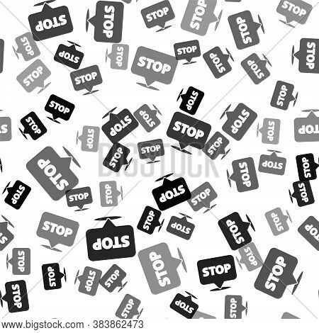Black Protest Icon Isolated Seamless Pattern On White Background. Meeting, Protester, Picket, Speech
