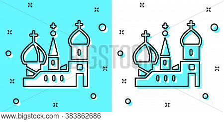 Black Line Moscow Symbol - Saint Basils Cathedral, Russia Icon Isolated On Green And White Backgroun
