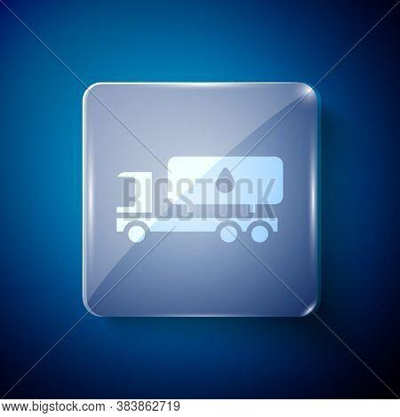 White Tanker Truck Icon Isolated On Blue Background. Petroleum Tanker, Petrol Truck, Cistern, Oil Tr