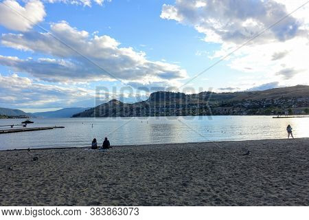 Kalamalka Lake, Vernon, Canada - August 8th, 2020: People Enjoying The Beautiful Views And Waters Du