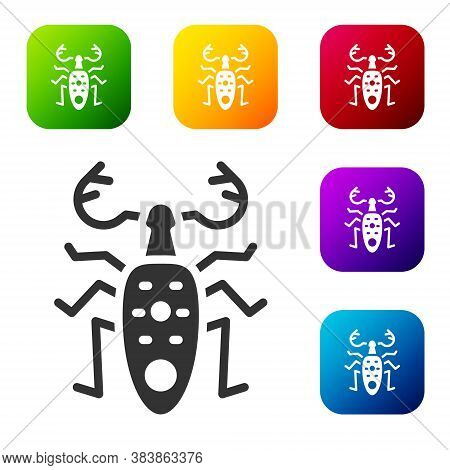 Black Beetle Deer Icon Isolated On White Background. Horned Beetle. Big Insect. Set Icons In Color S