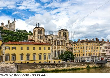 Lyon, France - August 3, 2019: Saint Jean Cathedral Or Saint Jean Baptiste In Lyon, France On June 1