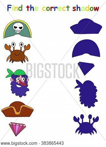 Find The Correct Shadow Funny Game For Kids With Pirate Stock Vector Illustration. Pirate Shadow Mat