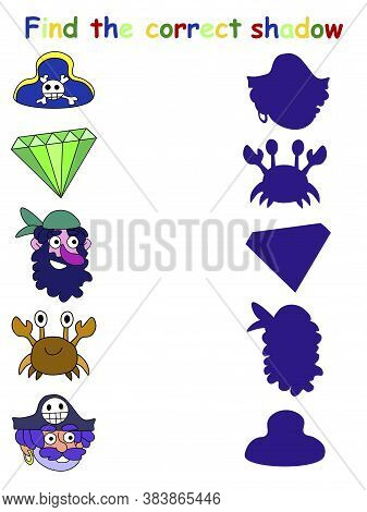 Pirate Shadow Matching Game Stock Vector Illustration. Find The Correct Shadow Of Two Pirates, Crab,