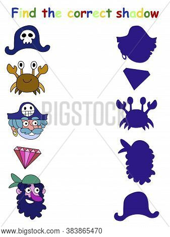 Find The Correct Shador Pirate Game For Kids Stock Vector Illustration. Shadow Matching Children Pri