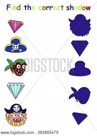 Pirate Find The Correct Shadow Children Vector Worksheet. Shadow Matching With Pirates, Brilliants A