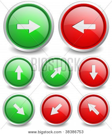 Set of 8 popular buttons - arrow