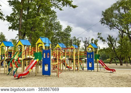 Playground On The Beach. Playground Without Children. Resting Place For Children. Empty Playground .