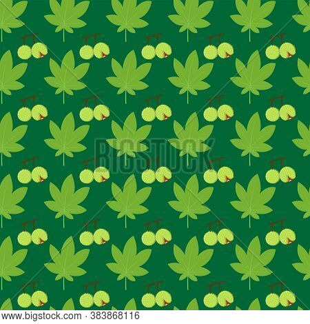 Pattern Of Leaves And Chestnuts On A Green Background