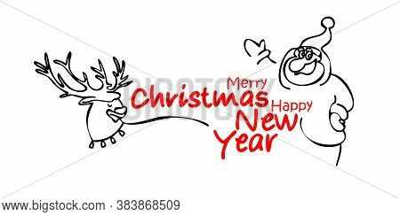 Merry Christmas And Happy New Year 2021. Santa Claus And Reindeer. Vector Illustration For Holiday I