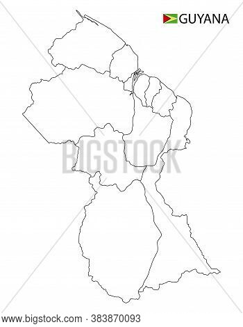 Guyana Map, Black And White Detailed Outline Regions Of The Country.