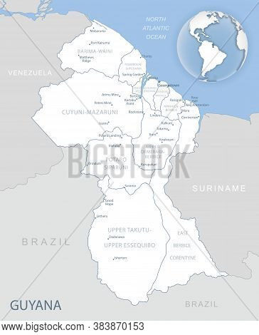 Blue-gray Detailed Map Of Guyana Administrative Divisions And Location On The Globe.