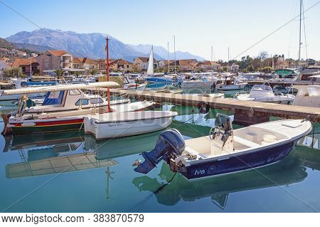 Tivat / Montenegro - February 16 2020 : Fishing Boats In Harbor. View Of Marina Kalimanj In Tivat Ci