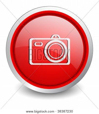 Digital Camera red button - design web icon