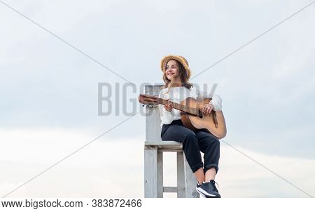 Performance. Guitar Player Or Guitarist. Happy Singer With Guitar. Girl Playing Guitar. Musical Scho