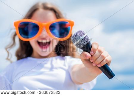 Kid Sing With Mic. Cheerful Event Manager. Child Have Fun On Party. Happy Singer With Microphone. Gi