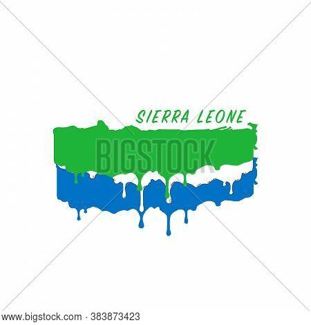 Painted Sierra Leone Flag, Sierra Leone Flag Paint Drips. Stock Vector Illustration Isolated On Whit