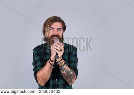 Do Not Be Shy. Concept Of Karaoke. Man Singer Love Music. Brutal Man Sing With Microphone. Vocal Sch