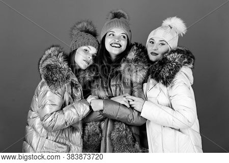 Emotional Women In Jackets. Group Friends Hang Out Together. Female Clothes Shop. Modern Trendy Fema