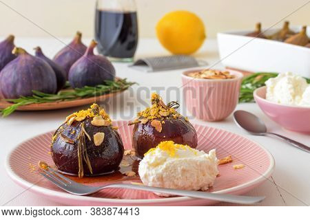 Caramelised Figs With Balsamic Vinegar, Rosemary, Almonds And Cottage Cheese. Slow Roasted Homemade