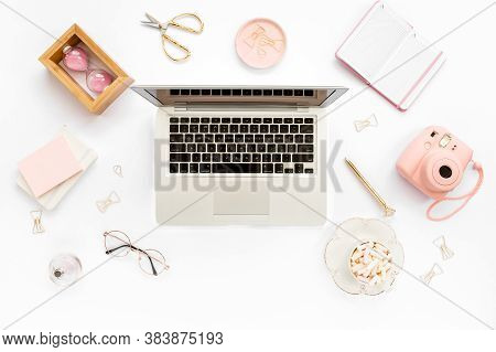 Stylized Womens Home Office Desk. Workspace With Laptop, Computer, Bouquet Ranunculus And Roses, Cli
