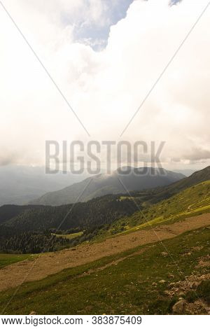 Mountain Meadow Tranquil Summer View. Mountain Valley Village Landscape Summer. Mountain Village Vie