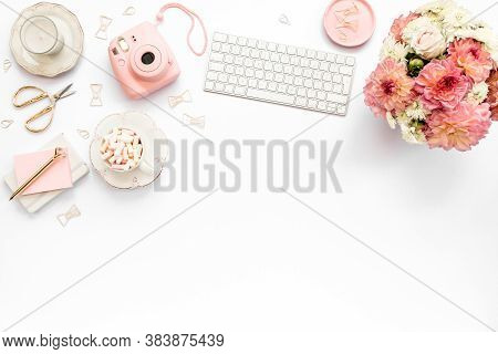 Stylized Womens Desk, Office Desk. Workspace With, Laptop, Roses, Clipboard. Womens Fashion Accessor