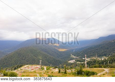 Alps Mountain Meadow Tranquil Summer View. Mountain Valley Village Landscape Summer. Mountain Villag