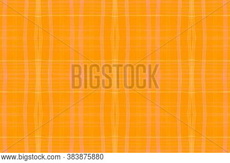 Summer Checks Print. Watercolor Plaid Border. Woven Stripes For Cloth Design. Seamless Orange Checks