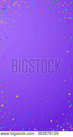 Festive Elegant Confetti. Celebration Stars. Festive Confetti On Violet Background. Favorable Festiv