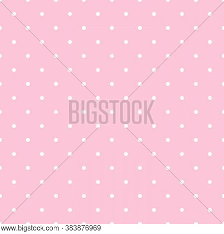 Seamless Vector Polka Dot Pattern. White Little Dots On Pink Background. Backdrop In Lol Doll Style.