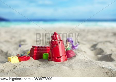 Beach Toys For Children On The Sandy Beach With Selective Focus