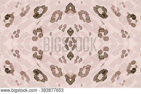 Seamless Leopard Imitation. Watercolour Panther Fur Pattern. Brown Spotted African Background. Vinta