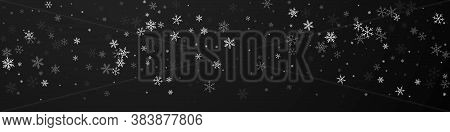 Sparse Snowfall Christmas Background. Subtle Flying Snow Flakes And Stars On Black Background. Brill