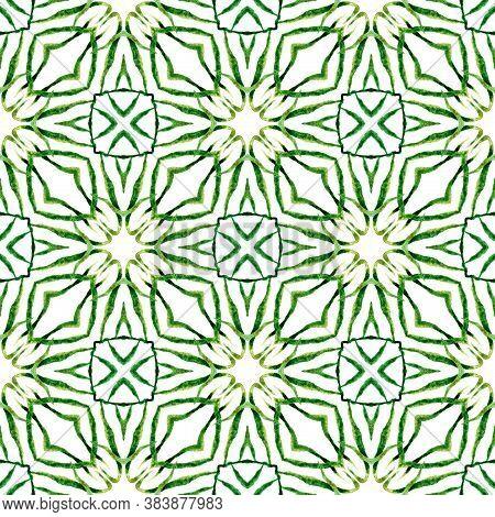Watercolor Ikat Repeating Tile Border. Green Splendid Boho Chic Summer Design. Textile Ready Appeali